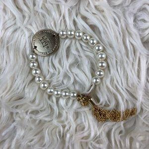 Bourbon & Boweties Coin Pearl Bracelet Gold Tassel